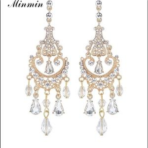 Crystal Gold Color Chandelier Long Earrings